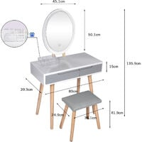 Dressing Table and Mirror Furniture Makeup Vanity Table with Wooden Cushioned Stool Set Oval Mirror