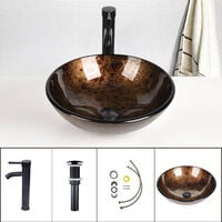 Bathroom Sink Basin Cloakroom Wash Bowl with Tap Mounting Ring and Pop Up Waste Round