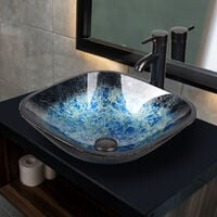 Artistic Sink Basin Bathroom Tempered Glass Vanity Bowl with Oil Rubber Bronze Tap and Pop Up Waste Combo Square Blue