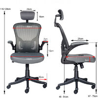 Office Chair Ergonomic Swivel Mesh Seat Computer Study Chair Task Desk Chair with Adjustable Headrest Lumbar Support Grey