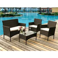 4 Pcs Rattan Garden Furniture Set Patio Sofa Chairs Table Outdoor Conservatory Brown