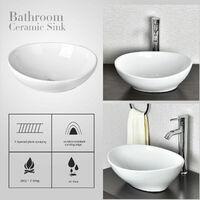 Bathroom Vanity Wash Basin Sink Countertop Oval Ceramic Wash Bowl 400 x 330mm
