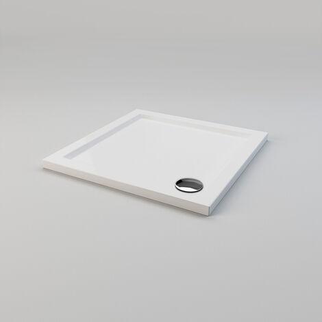 SIRHONA Plato de Ducha Portatil,Roca,con Altura 4cm Blanco,Antideslizante,Liso - 70 x 70 cm