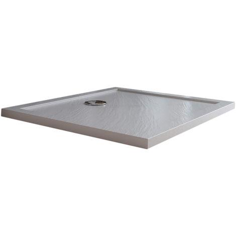 Receveur de douche 90x120x4cm rectangle acrylique avec bordures blanc effet pierre mod. Flower