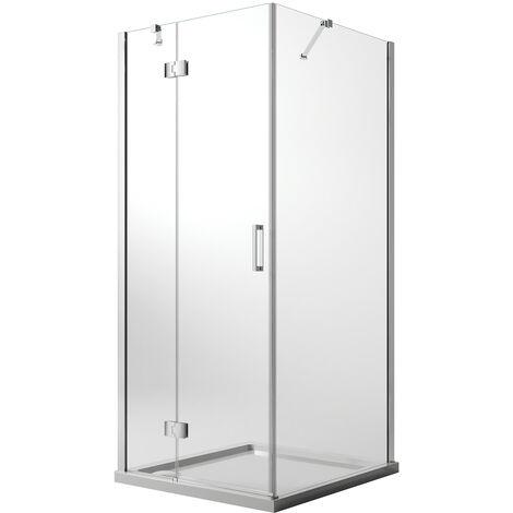 Cabine de douche 80x90 CM H190 Transparent avec Easyclean mod. Flip Porte + Fixe