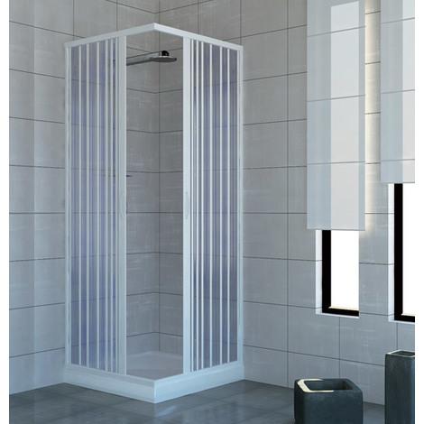 Cabine paroi de douche en Plastique PVC mod. Acquario 80x90 cm avec ouverture centrale