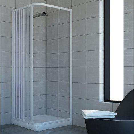 Cabine paroi de douche en Plastique PVC mod. Acquario 80x90 cm avec ouverture latérale