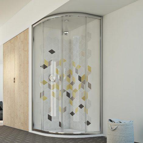 Parois cabine de douche demi-circulaire coulissante verre transparent h 198 mod. Evolution 90X90 cm