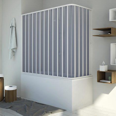 Pare baignoire70x170 CM H150 en Plastique pvc modèle Santorini avec l'ouverture latérale