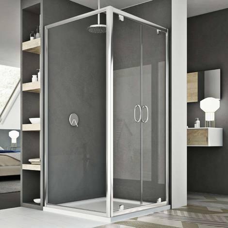 Parois cabine de douche saloon verre transparent h 185 mod Sintesi duo 2 portes 90x90 ouv. 90 cm carré