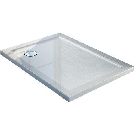 Receveur de douche 80x100x4cm rectangle acrylique avec bordures blanc brillant mod. Flower