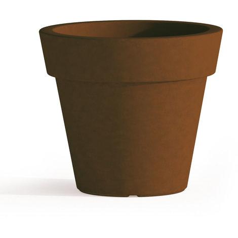 Pot de Fleurs Begonia avec soucoupe en résine Rond H45 Brun Ø 50Cm
