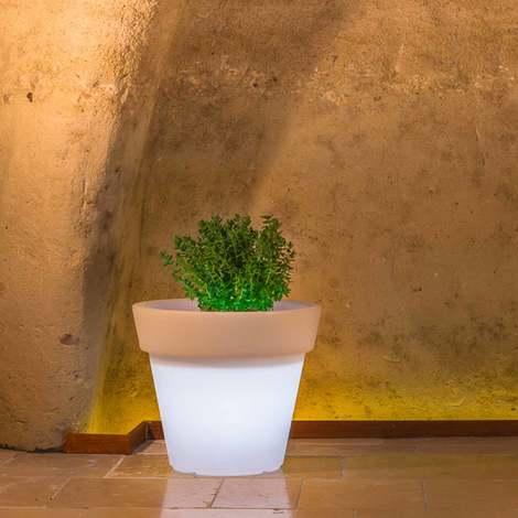 Pot de Fleurs Begonia en résine Rond H45 Lampe Blanche Ø 50Cm