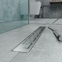 Caniveau de douche en Acier Inox avec grille façonnée 90 cm mod. Doric