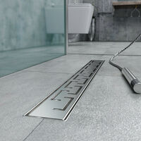 Caniveau de douche en Acier Inox avec grille façonnée 120 cm mod. Doric