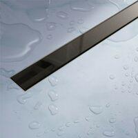 Caniveau de douche en Acier Inox et verre noir 120 cm mod. Glass