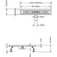 Caniveau de douche en Acier Inox avec grille à fente 120 cm mod. Stripe