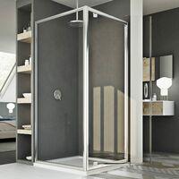 Parois cabine de douche pivotante verre transparent h 185 mod Sintesi duo 1 porte 90x90 ouv. 90 cm carré