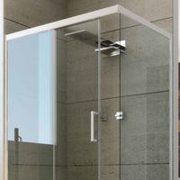Cabine Douche en PVC 70x120 CM H190 Transparent mod. Glax Profil Blanc