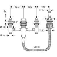 Hansgrohe Basic set for 4-hole rim-mounted bath mixer (13244180)