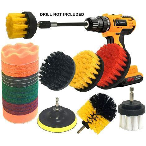 Ensemble de fixation pour brosse de forage de 22 pièces, kit de brosse de forage pour épurateur électrique, brosse de récurage avec extension longue