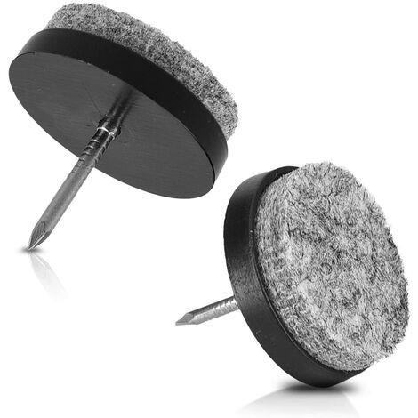 SOEKAVIA Patins à clou en feutre - 20x Patin rond 28 mm à clouer pour pieds de chaise table tabouret meuble - Protection du sol plancher - Noir