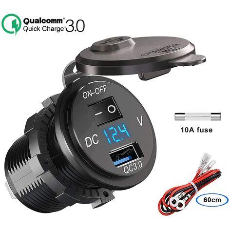 SOEKAVIA QC 3.0 prise USB voiture 12V / 24V, chargeur de voiture Quick Charge 3.0 prise intégrée adaptateur allume-cigare étanche avec interrupteur affichage de la tension du voltmètre LED pour moto bateau camion caravane ATV