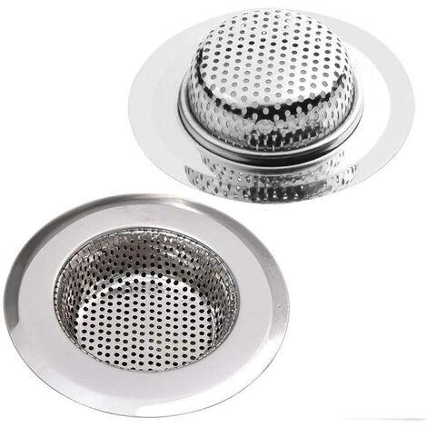 SOEKAVIA Crépine de vidange en acier inoxydable, lot de 2, crépine de douche, évier de cuisine Ø 9CM et crépine de vidange de baignoire, 2 crépines de douche