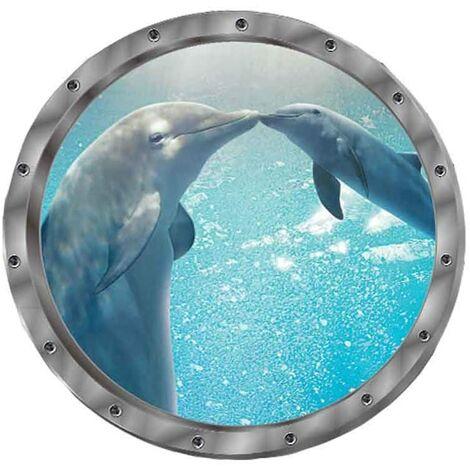 SOEKAVIA Sticker mural autocollant mural 3D fenêtre dauphin tortues monde sous-marin dauphins salon marin chambre décoration de la chambre des enfants (dauphin)