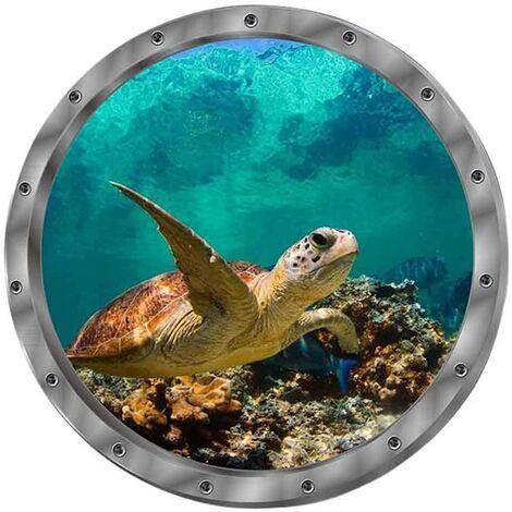 SOEKAVIA Sticker mural autocollant mural 3D fenêtre dauphin tortues monde sous-marin dauphins salon marin chambre décoration de la chambre des enfants (tortues)