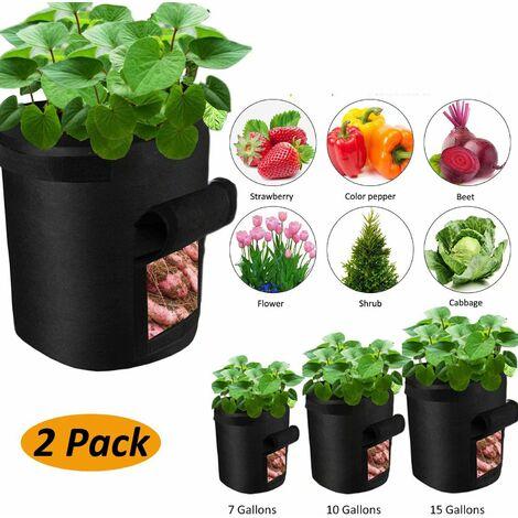 SOEKAVIA Sac de jardinière, lot de 2, avec rabat d'accès et poignées, pour pommes de terre, pots de fleurs, sacs de plantes, jardinières, jardinières, jardinières, jardinières., Noir (taille: 7 gallons)