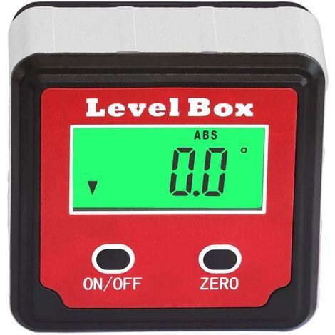 SOEKAVIA Inclinomètre à angle LCD numérique étanche à l'eau Boîte d'angle Boîte Bevel Box Level Box d'angle Aimants intégrés