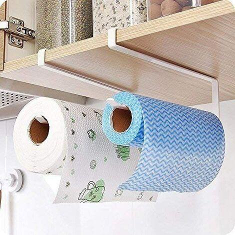SOEKAVIA Porte-rouleau de cuisine à fixer sur une porte d'armoire et sous un placard, 2 porte-serviettes sous un placard, sans perçage pour cuisine et salle de bain