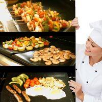 SOEKAVIA Set de 5 Tapis de Cuisson Tapis BBQ Barbecue Plaque Feuille de Cuisson Four 40 * 33cm pour Barbecue gaz Charbon électrique 100% Anti-adhérent