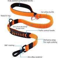 SOEKAVIA Laisse pour Chien Solide avec Poignée Rembourrée Corde Anti-Traction Laisse de Dressage Élastique pour Moyens et Grands Chiens en Fort Tirage (110CM-150CM, Orange)