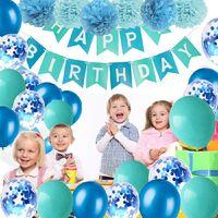 SOEKAVIA Décoration d'anniversaire garçons bleu guirlande joyeux anniversaire avec pompons et ballons ballons confettis roses pour les décorations de fête d'anniversaire filles et femmes