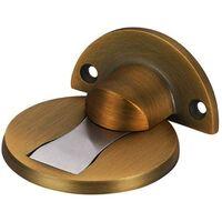 SOEKAVIA Butée de porte magnétique en acier inoxydable 304, butée de porte en métal brossé avec fonction de verrouillage souple, colle et vis auto-adhésives, support de porte haute performance pour le restaurant de l'hôtel à domicile(Bronze jaune)