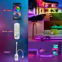 Ruban LED 15M, Bluetooth Bande LED 5050 RGB 12V 270 LED Lumineuse, Contrôlé par APP, IR Télécommande et Contrôleur pour Maison, Chambre, Television, Decoration D'armoire, Fête, Mariage
