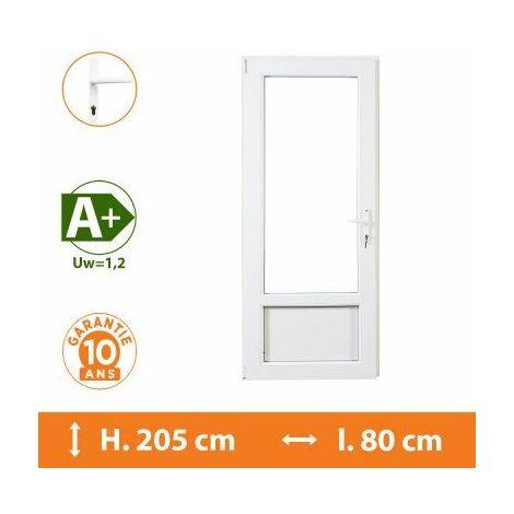 Porte-Fenêtre 1 vantail Blanc - Tirant Gauche - H.205 x l.80 cm - Blanc