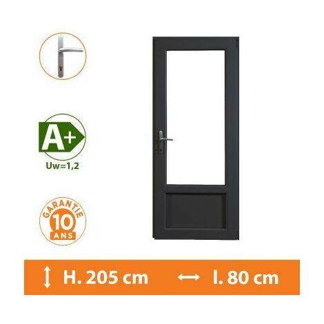 Porte-Fenêtre 1 vantail Gris - Tirant Droit - H.205 x l.80 cm - Gris