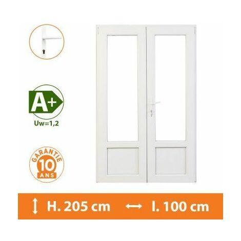 Porte-Fenêtre 2 vantaux Blanc - H.205 x l.100 cm - Blanc