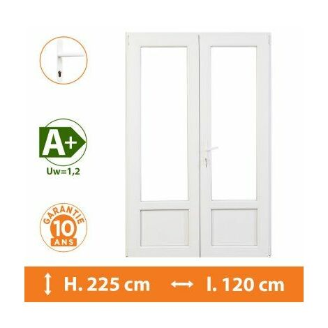 Porte-Fenêtre 2 vantaux Blanc - H.225 x l.120 cm - Blanc