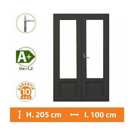 Porte-Fenêtre 2 vantaux Gris - H.205 x l.100 cm - Gris