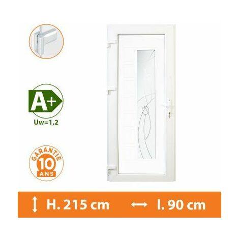 Porte d'entrée PVC Blanc - Tirant Gauche - Andromède - Blanc