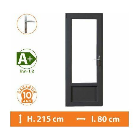 Porte-Fenêtre 1 vantail Gris - Tirant Gauche - H.215 x l.80 cm - Gris