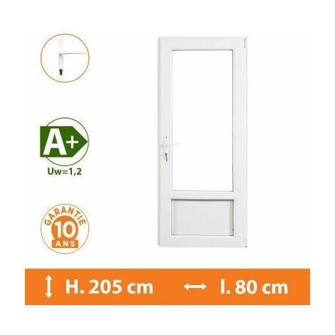 Porte-Fenêtre 1 vantail Blanc - Tirant Droit - H.205 x l.80 cm - Blanc