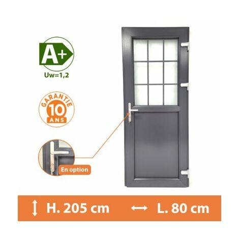 Porte de service 1/2 vitrée croisillons - Gris - Tirant Droit - H.205 x l.80 cm - Gris