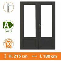Porte-Fenêtre 2 vantaux Gris - H.215 x l.180 cm - Gris