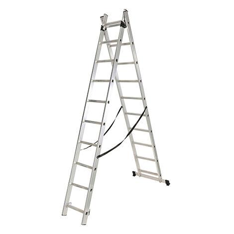 Escalera Industrial Doble Extensible 2 X 11 Peldaños De Aluminio