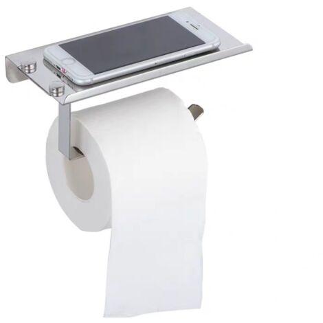 Porte-papier hygiénique mural avec étagère-étagère en acier inoxydable 304 avec porte-papier hygiénique auto-adhésif 3M avec support pour téléphone de salle de bain